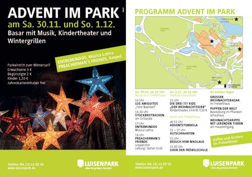 Flyer zu Advent im Park 2013
